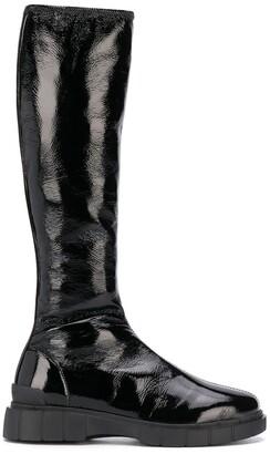 Car Shoe Crinkled Knee-High Boots