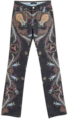 Roberto Cavalli Grey Printed Flared Bottom Jeans XS