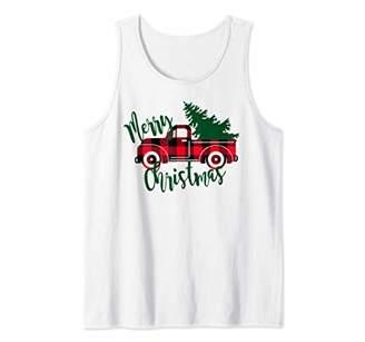 Buffalo David Bitton Plaid Red Truck Women's Christmas Vintage Christmas Tank Top
