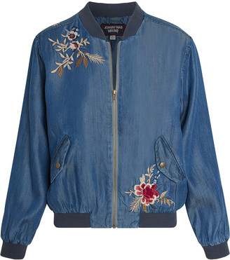 Johnny Was Palmyra Embroidered Denim Bomber Jacket