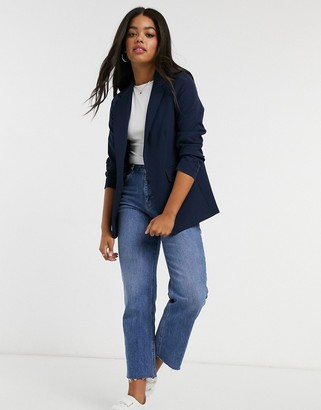 New Look ruched-sleeve blazer in navy