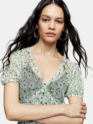 Topshop Daisy Mesh Midi Dress - Green