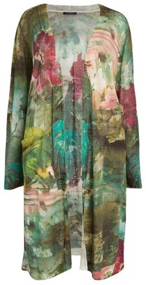 Marina Rinaldi Floral Linen-Rich Minoico Cardigan