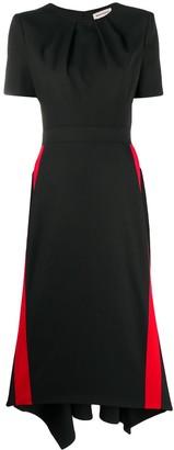 Alexander McQueen Contrasting Stripe-Appliques Short-Sleeved Dress