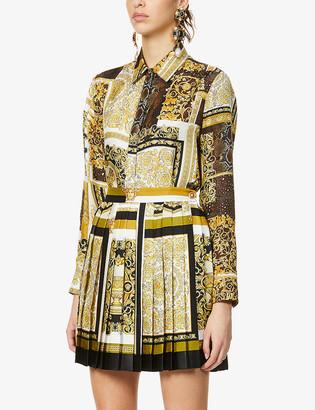 Versace Baroque patchwork-print silk shirt