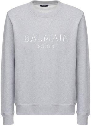 Balmain 3d Logo Print Cotton Jersey Sweatshirt