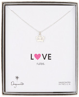 Dogeared Sterling Silver Love Rules Heart Crown Necklace