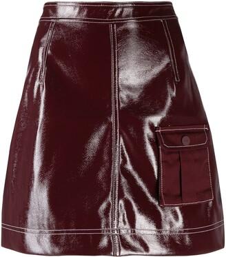 Ganni patent A-line skirt