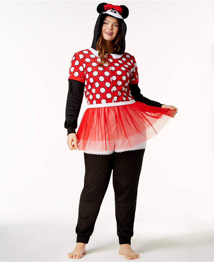 Briefly Stated Plus Size Disney Minnie Mouse Polka-Dot Hooded Jumpsuit