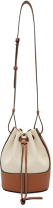 Loewe Off-White and Tan Canvas Small Balloon Bag