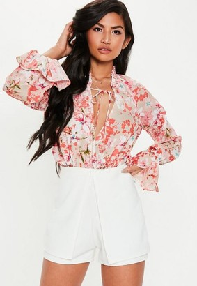 Missguided Pink Floral Wrap Bodysuit