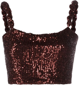 Balmain Sequined Cropped Top