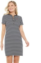 Chaps Women's Lace-Up Stripe Logo T-shirt Dress
