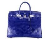 Hermes pristine (PR Blue Electrique Porosus Crocodile 40cm Birkin Bag with Palladium Hardware
