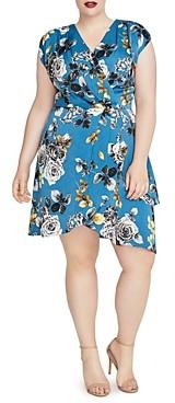 Rachel Roy Plus Pierce Floral Print Faux-Wrap Dress