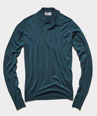 John Smedley Sweaters John Smedley Easy Fit Long Sleeve Polo Sweater in Emerald