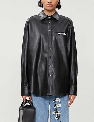 Kimhekim Label loose-fit faux-leather shirt