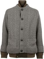 Sacai Light Grey Layered Effect Cardigan