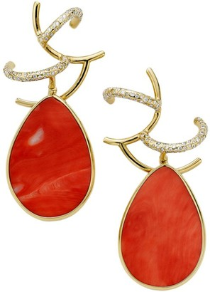 Ippolita Rock Candy Branch 18K Yellow Gold, Coral & Diamond Earrings
