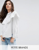 Missguided Petite White Stripe Frill Long Sleeve Collared Shirt