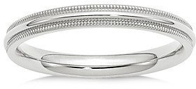 Bloomingdale's Men's 3mm Milgrain Comfort Fit Band in 14K White Gold - 100% Exclusive
