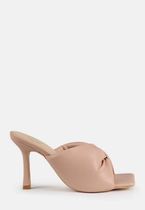 Missguided Nude Faux Leather Bow Front Square Toe Heeled Mule Sandals