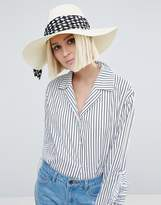 Eugenia Kim Genie by Willa Ivory Straw Hat with Polka Dot Scarf Trim