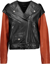 Isabel Marant Audric two-tone asymmetric leather jacket