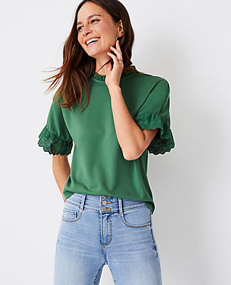 Ann Taylor Mixed Media Eyelet Ruffle Trim Top