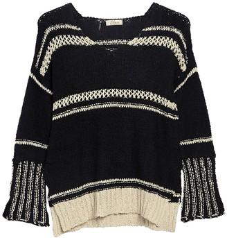 Elan International Crochet Trim V-Neck Sweater