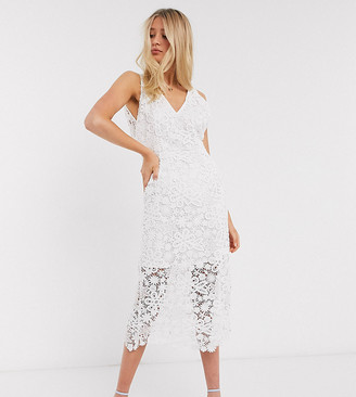 Y.A.S Tall wedding midi dress in white lace