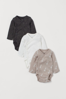 H&M 3-pack Long-sleeved Bodysuits - Brown
