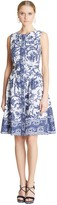 Oscar de la Renta Navy Printed Cotton-Canvas Dress
