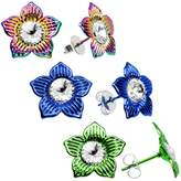 Body Candy 15mm Rainbow Blue Green Flower Stud Earrings