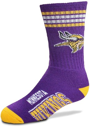 Youth For Bare Feet Minnesota Vikings Four-Stripe Deuce Quarter-Length Socks