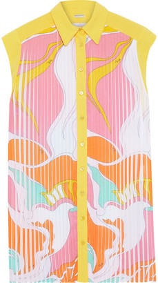 Emilio Pucci Pleated Printed Silk Crepe De Chine Shirt