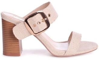 Linzi MADAME - Natural Canvas Mule With Giant Buckle Detail And Stacked Heel
