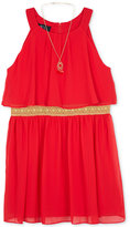 BCX Pleated Halter Dress and Necklace Set, Big Girls Plus (8-20)