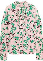 Marni Ruffled Floral-print Silk Crepe De Chine Shirt - Pastel pink