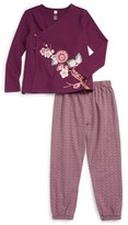 Tea Collection Toddler Girl's Akira Graphic Floral Wrap Top & Leggings Set