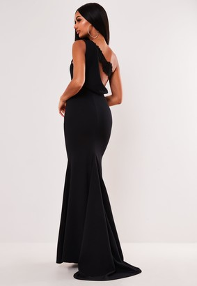 Missguided Black Lace Strap Cowl Back Maxi Dress