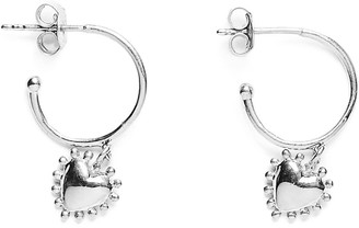 Agnes de Verneuil Mini Hoop Earrings With Pearl Heart - Silver