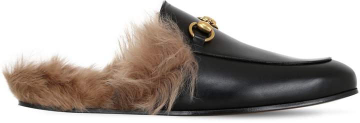 Gucci Princetown Fur Lined Leather Slippers