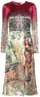 Etro Printed satin midi dress