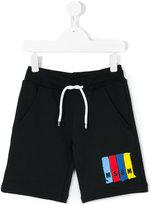 MSGM logo print track shorts - kids - Cotton - 8 yrs