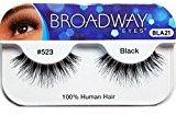 Broadway Eyes False Strip Eyelashes 100% Human Hair Black #523, BLA21 (6 Pack)
