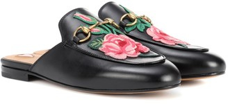 Gucci Princetown appliqued leather slippers