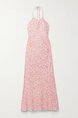 Rixo Marilyn Crepe Halterneck Midi Dress - Red