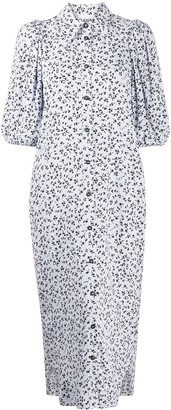 Ganni Floral Print Puff Sleeves Dress