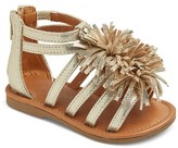 Cat & Jack Toddler Girls' Peggy Gladiator Sandals With Large Fringe Poufs Cat & Jack - Gold